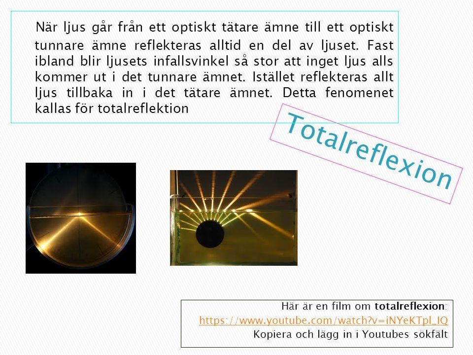 Här är en film om totalreflexion: https://www.youtube.com/watch?v=iNYeKTpl_IQ Kopiera och lägg in i Youtubes sökfält När ljus går från ett optiskt tätare ämne till ett optiskt tunnare ämne reflekteras alltid en del av ljuset.