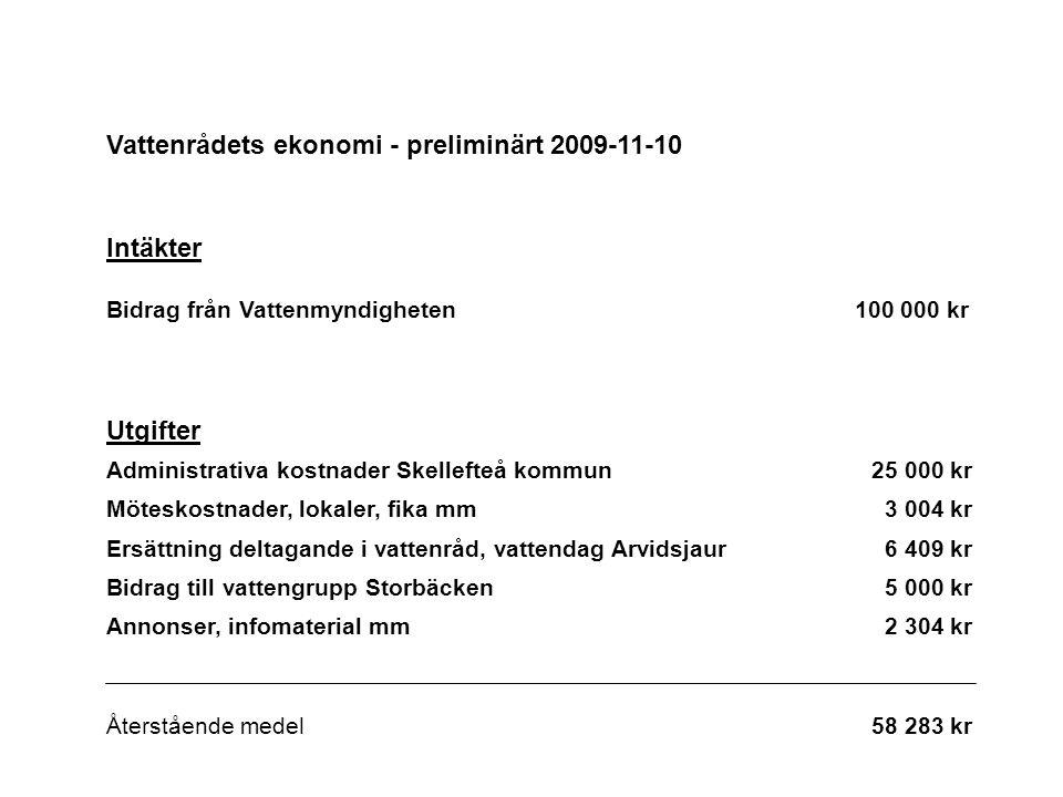Vattenrådets ekonomi - preliminärt 2009-11-10 Intäkter Bidrag från Vattenmyndigheten 100 000 kr Utgifter Administrativa kostnader Skellefteå kommun25 000 kr Möteskostnader, lokaler, fika mm3 004 kr Ersättning deltagande i vattenråd, vattendag Arvidsjaur6 409 kr Bidrag till vattengrupp Storbäcken5 000 kr Annonser, infomaterial mm2 304 kr Återstående medel58 283 kr
