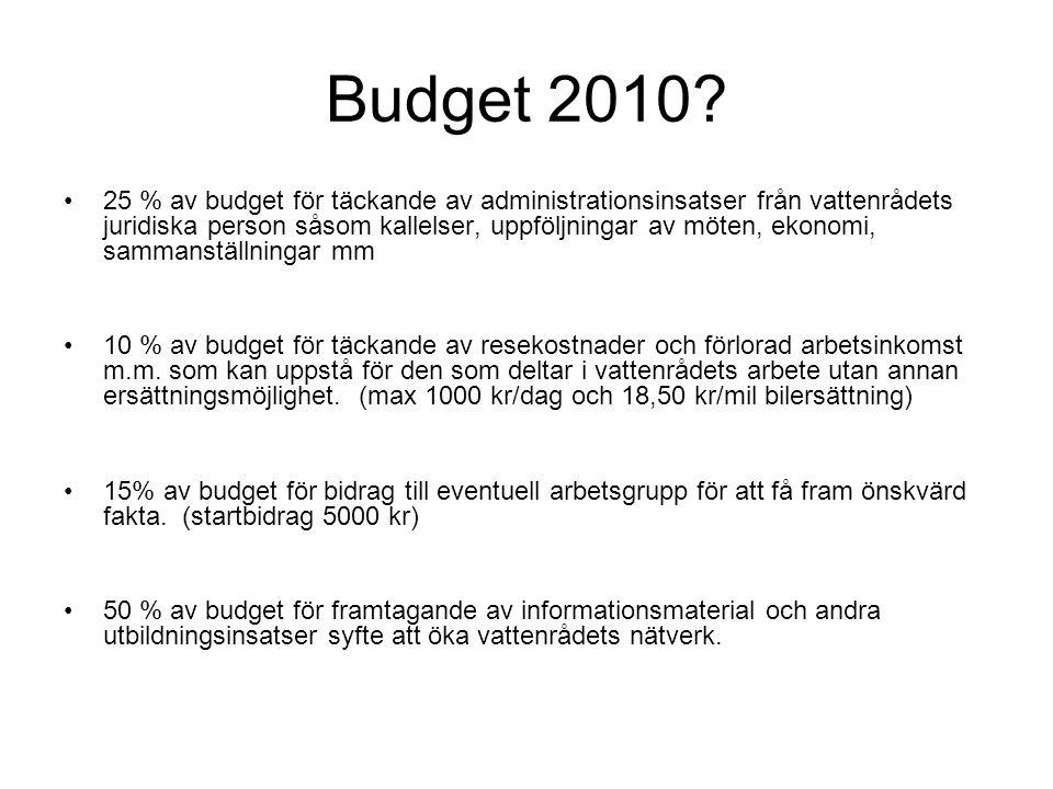 Budget 2010? 25 % av budget för täckande av administrationsinsatser från vattenrådets juridiska person såsom kallelser, uppföljningar av möten, ekonom