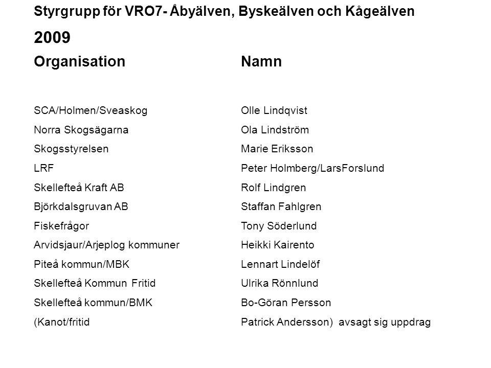 Styrgrupp för VRO7- Åbyälven, Byskeälven och Kågeälven 2009 OrganisationNamn SCA/Holmen/SveaskogOlle Lindqvist Norra SkogsägarnaOla Lindström Skogssty