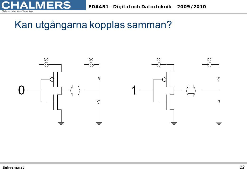 EDA451 - Digital och Datorteknik – 2009/2010 Kan utgångarna kopplas samman? 22 Sekvensnät