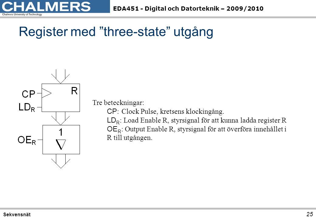 """EDA451 - Digital och Datorteknik – 2009/2010 Register med """"three-state"""" utgång 25 Sekvensnät Tre beteckningar: CP :Clock Pulse, kretsens klockingång."""