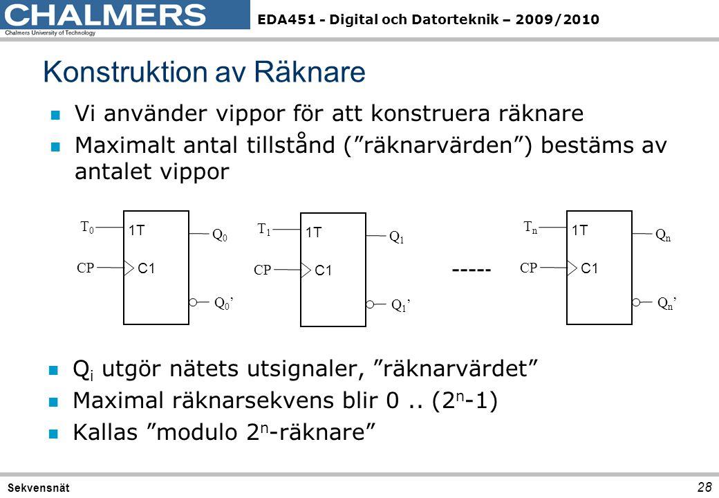 """EDA451 - Digital och Datorteknik – 2009/2010 n Vi använder vippor för att konstruera räknare n Maximalt antal tillstånd (""""räknarvärden"""") bestäms av an"""
