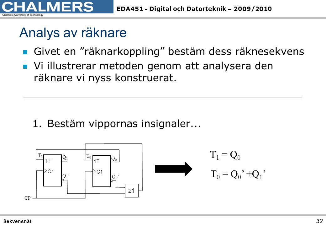 """EDA451 - Digital och Datorteknik – 2009/2010 Analys av räknare 32 Sekvensnät n Givet en """"räknarkoppling"""" bestäm dess räknesekvens n Vi illustrerar met"""