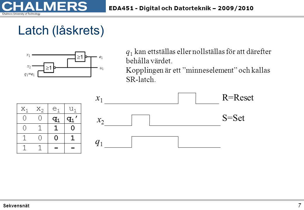 EDA451 - Digital och Datorteknik – 2009/2010 Latch (låskrets) 7 Sekvensnät x1x1 x2x2 e1e1 u1u1 00q1q1 q1'q1' 0110 1001 11-- x1x1 x2x2 e1e1 u1u1 q1=e1q