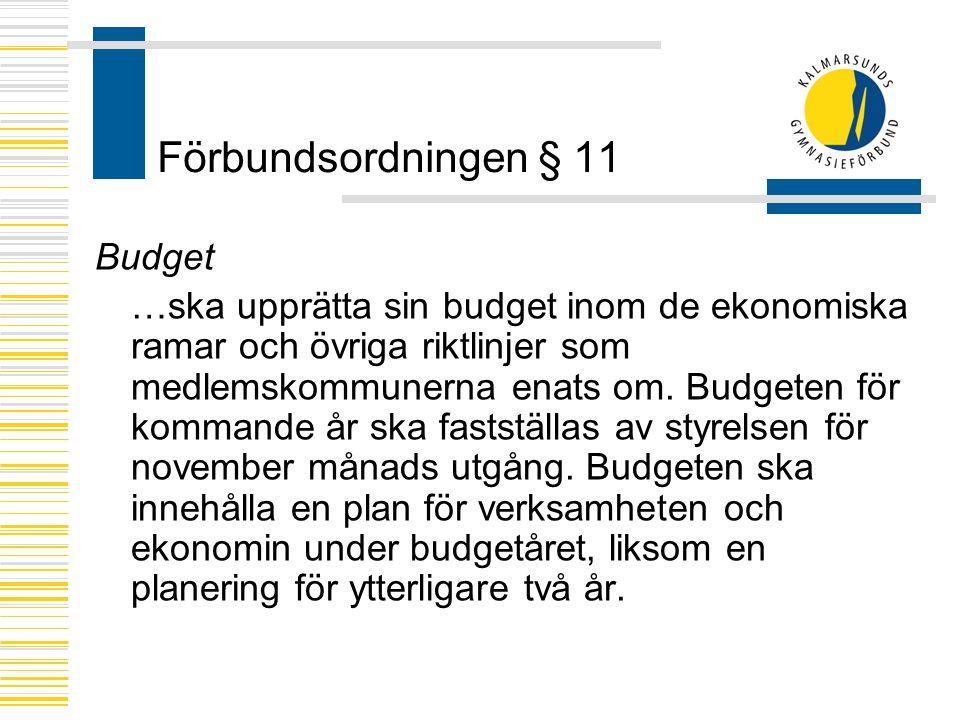 Förbundsordningen § 11 Budget …ska upprätta sin budget inom de ekonomiska ramar och övriga riktlinjer som medlemskommunerna enats om. Budgeten för kom