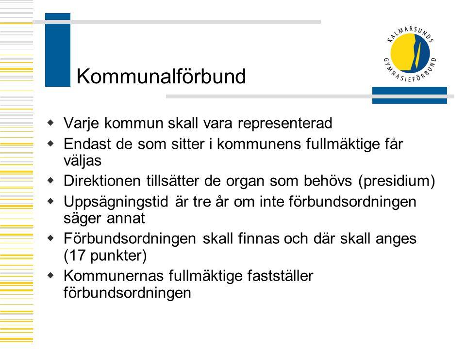 Kommunalförbund  Varje kommun skall vara representerad  Endast de som sitter i kommunens fullmäktige får väljas  Direktionen tillsätter de organ so