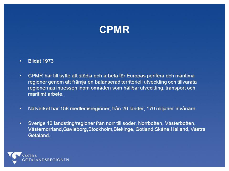 CPMR Bildat 1973 CPMR har till syfte att stödja och arbeta för Europas perifera och maritima regioner genom att främja en balanserad territoriell utveckling och tillvarata regionernas intressen inom områden som hållbar utveckling, transport och maritimt arbete.