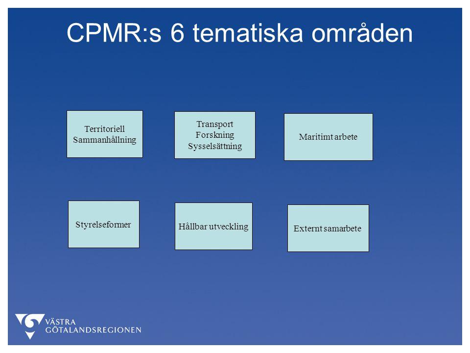 CPMR:s 6 tematiska områden Territoriell Sammanhållning Transport Forskning Sysselsättning Maritimt arbete Styrelseformer Hållbar utveckling Externt samarbete