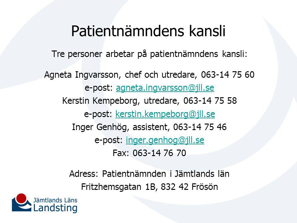 Patientnämndens kansli Tre personer arbetar på patientnämndens kansli: Agneta Ingvarsson, chef och utredare, 063-14 75 60 e-post: agneta.ingvarsson@jl