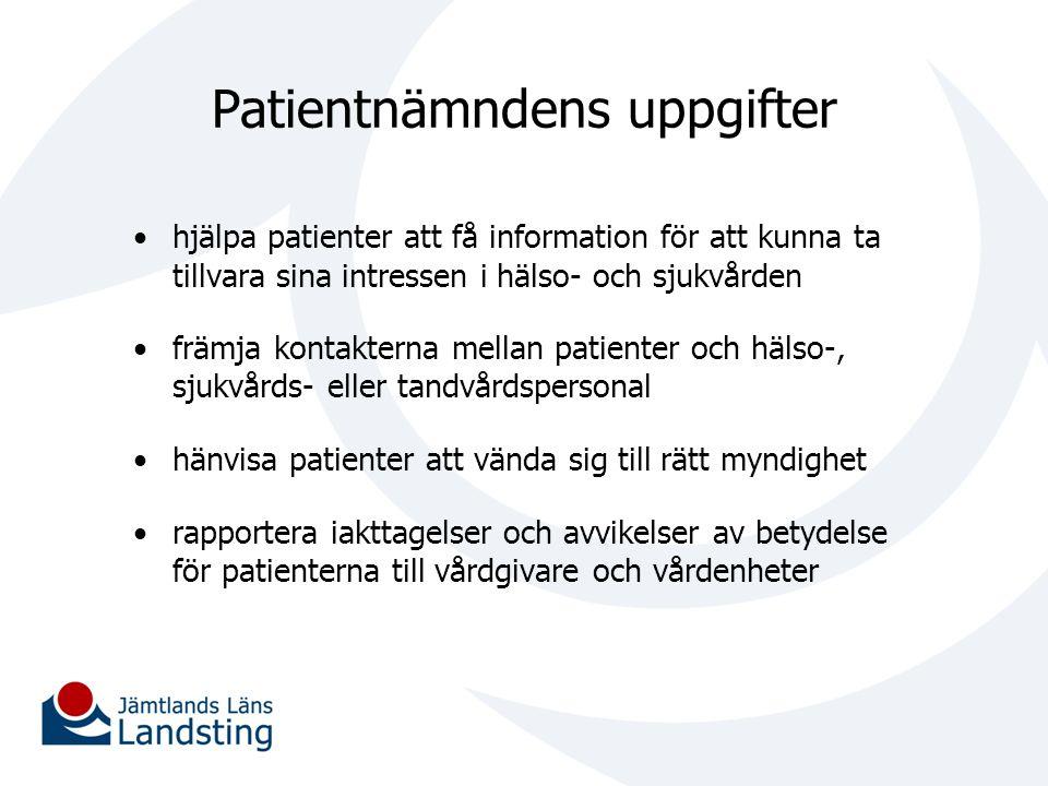 Patientnämndens uppgifter hjälpa patienter att få information för att kunna ta tillvara sina intressen i hälso- och sjukvården främja kontakterna mell