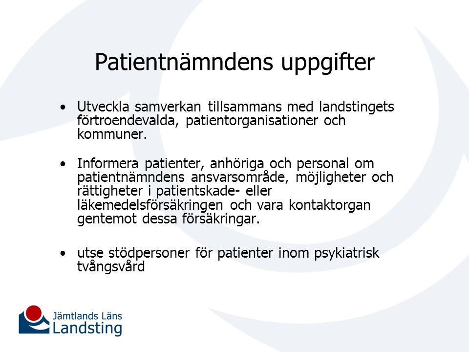 Patientnämndens uppgifter Utveckla samverkan tillsammans med landstingets förtroendevalda, patientorganisationer och kommuner. Informera patienter, an