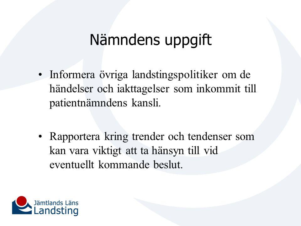 Nämndens uppgift Informera övriga landstingspolitiker om de händelser och iakttagelser som inkommit till patientnämndens kansli. Rapportera kring tren