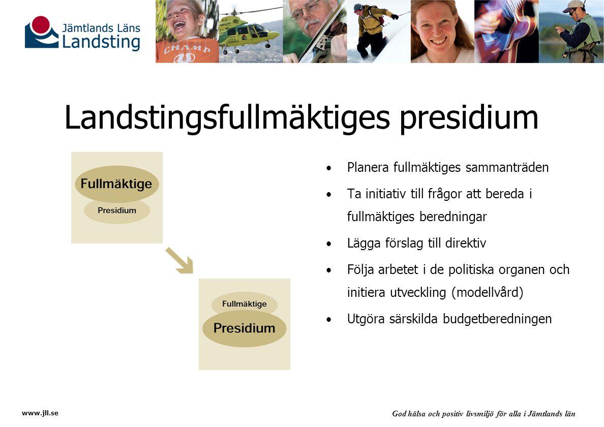 www.jll.se God hälsa och positiv livsmiljö för alla i Jämtlands län Landstingsfullmäktiges presidium Planera fullmäktiges sammanträden Ta initiativ till frågor att bereda i fullmäktiges beredningar Lägga förslag till direktiv Följa arbetet i de politiska organen och initiera utveckling (modellvård) Utgöra särskilda budgetberedningen