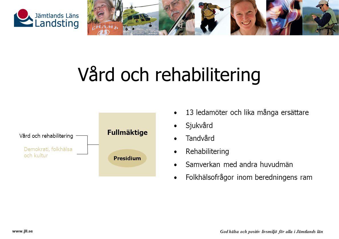 www.jll.se God hälsa och positiv livsmiljö för alla i Jämtlands län Demokrati- och länsutveckling 9 ledamöter och lika många ersättare Demokrati- och inflytandefrågor ur medborgarperspektiv IT- och byggnadsfrågor av långsiktig karaktär Informationsfrågor Frågor som rör folkhälsa, miljö och kultur Fullmäktige Presidium Vård och rehabilitering Demokrati, folkhälsa och kultur