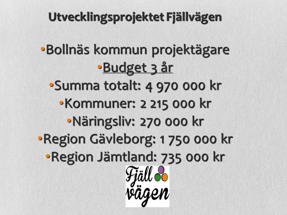 Utvecklingsprojektet Fjällvägen Bollnäs kommun projektägare Bollnäs kommun projektägare Budget 3 år Budget 3 år Summa totalt: 4 970 000 kr Summa total