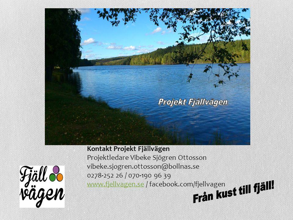 Kontakt Projekt Fjällvägen Projektledare Vibeke Sjögren Ottosson vibeke.sjogren.ottosson@bollnas.se 0278-252 26 / 070-190 96 39 www.fjellvagen.sewww.f