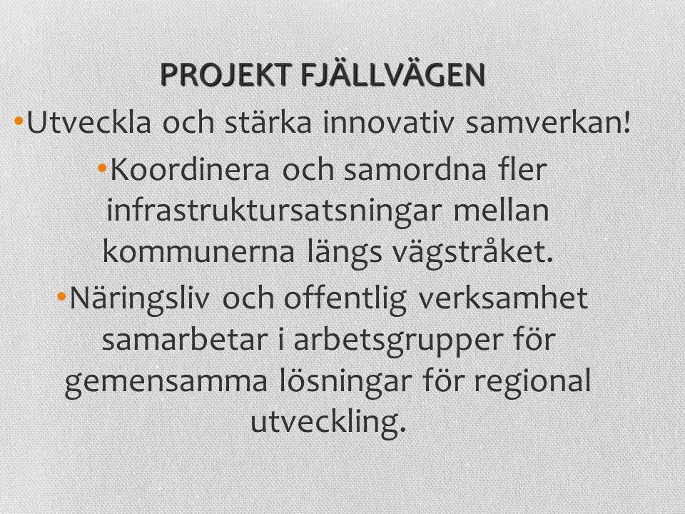 PROJEKT FJÄLLVÄGEN Utveckla och stärka innovativ samverkan! Koordinera och samordna fler infrastruktursatsningar mellan kommunerna längs vägstråket. N