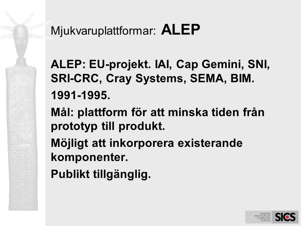 Mjukvaruplattformar: ALEP ALEP: EU-projekt. IAI, Cap Gemini, SNI, SRI-CRC, Cray Systems, SEMA, BIM. 1991-1995. Mål: plattform för att minska tiden frå
