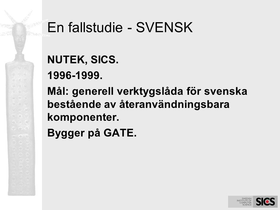 En fallstudie - SVENSK NUTEK, SICS. 1996-1999. Mål: generell verktygslåda för svenska bestående av återanvändningsbara komponenter. Bygger på GATE.