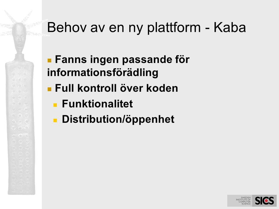 Behov av en ny plattform - Kaba Fanns ingen passande för informationsförädling Full kontroll över koden Funktionalitet Distribution/öppenhet