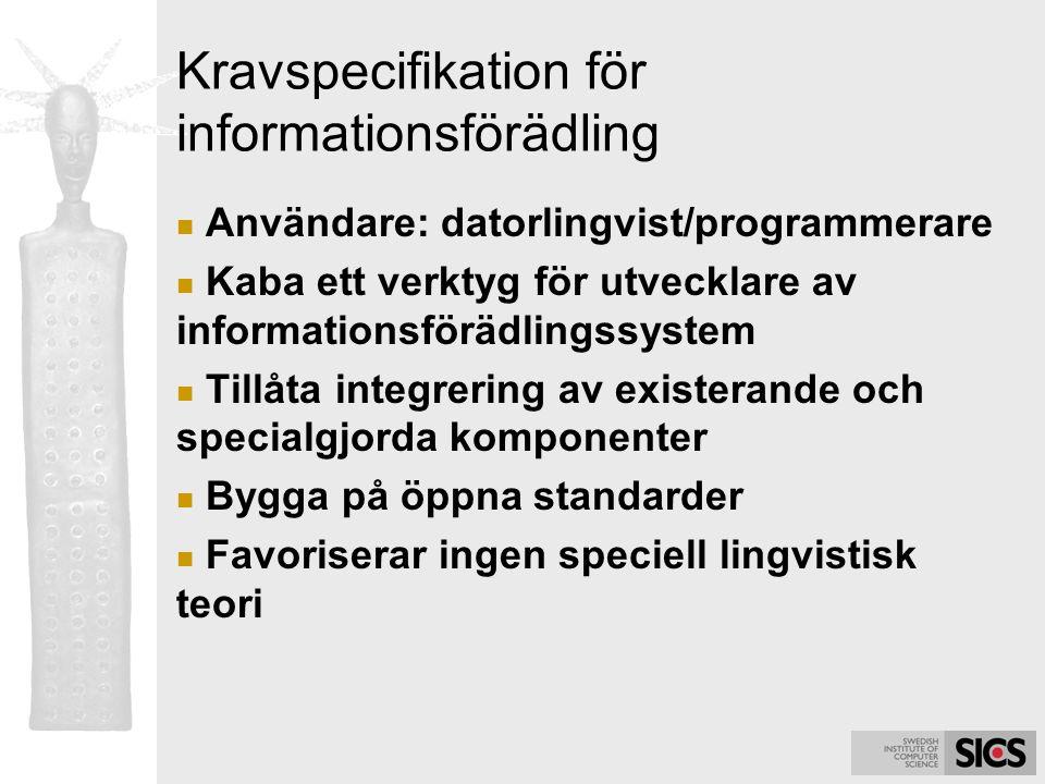 Kravspecifikation för informationsförädling Användare: datorlingvist/programmerare Kaba ett verktyg för utvecklare av informationsförädlingssystem Til