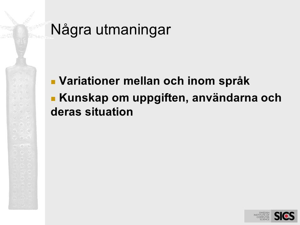 Några utmaningar Variationer mellan och inom språk Kunskap om uppgiften, användarna och deras situation