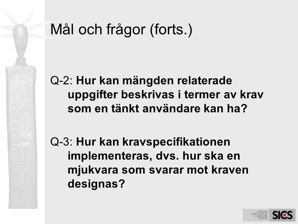 Mål och frågor (forts.) Q-2: Hur kan mängden relaterade uppgifter beskrivas i termer av krav som en tänkt användare kan ha? Q-3: Hur kan kravspecifika
