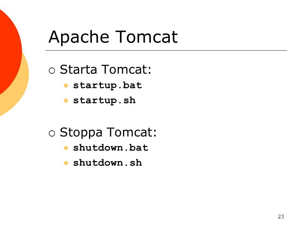 23 Apache Tomcat  Starta Tomcat: startup.bat startup.sh  Stoppa Tomcat: shutdown.bat shutdown.sh