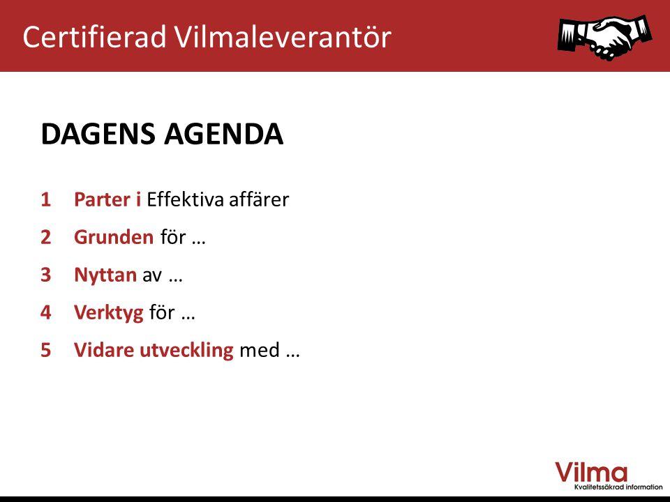 Vilma PARTER FÖR EFFEKTIVA AFFÄRER Certifierad Vilmaleverantör