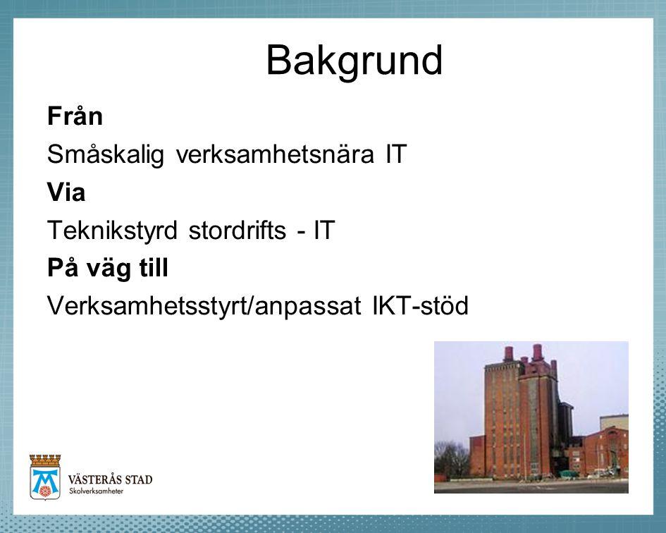 Bakgrund Från Småskalig verksamhetsnära IT Via Teknikstyrd stordrifts - IT På väg till Verksamhetsstyrt/anpassat IKT-stöd