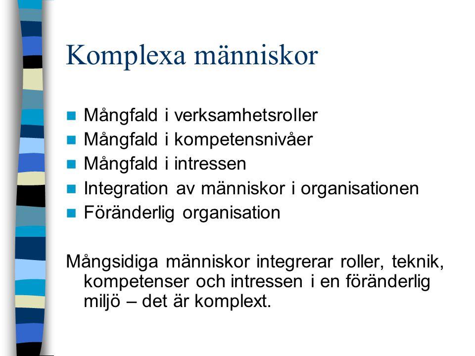 Komplexa människor Mångfald i verksamhetsroller Mångfald i kompetensnivåer Mångfald i intressen Integration av människor i organisationen Föränderlig