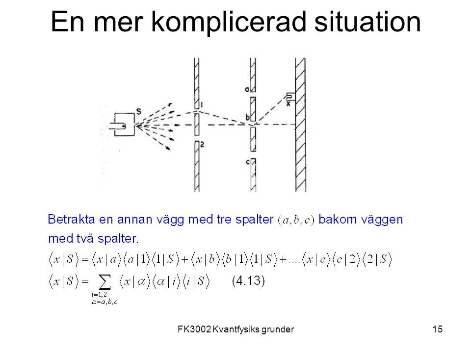 FK3002 Kvantfysiks grunder15 En mer komplicerad situation