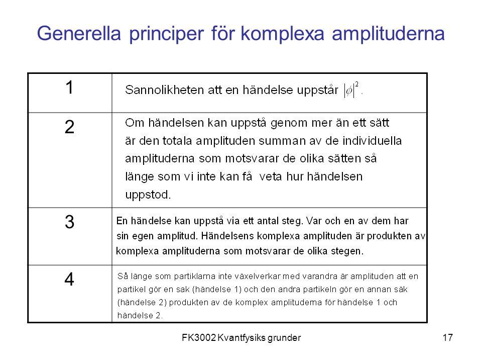 FK3002 Kvantfysiks grunder17 Generella principer för komplexa amplituderna 1 2 3 4