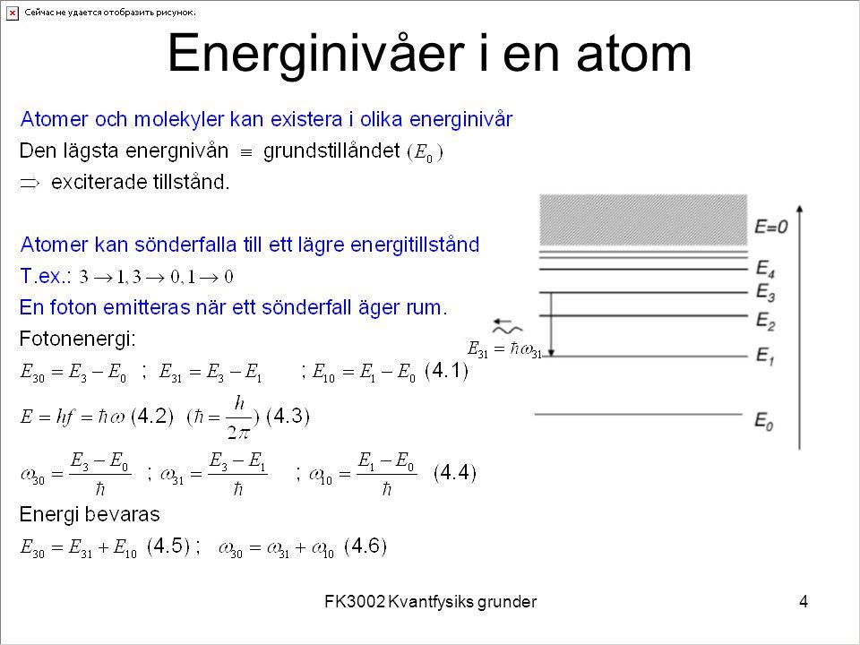 FK3002 Kvantfysiks grunder4 Energinivåer i en atom