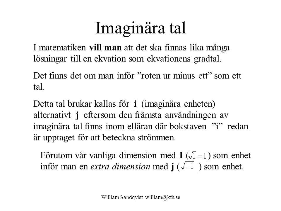William Sandqvist william@kth.se Imaginära tal I matematiken vill man att det ska finnas lika många lösningar till en ekvation som ekvationens gradtal.