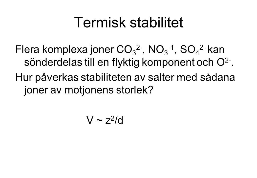 Termisk stabilitet Flera komplexa joner CO 3 2-, NO 3 -1, SO 4 2- kan sönderdelas till en flyktig komponent och O 2-. Hur påverkas stabiliteten av sal
