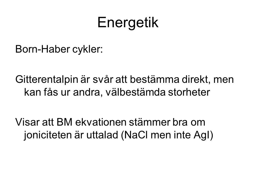 Energetik Born-Haber cykler: Gitterentalpin är svår att bestämma direkt, men kan fås ur andra, välbestämda storheter Visar att BM ekvationen stämmer b