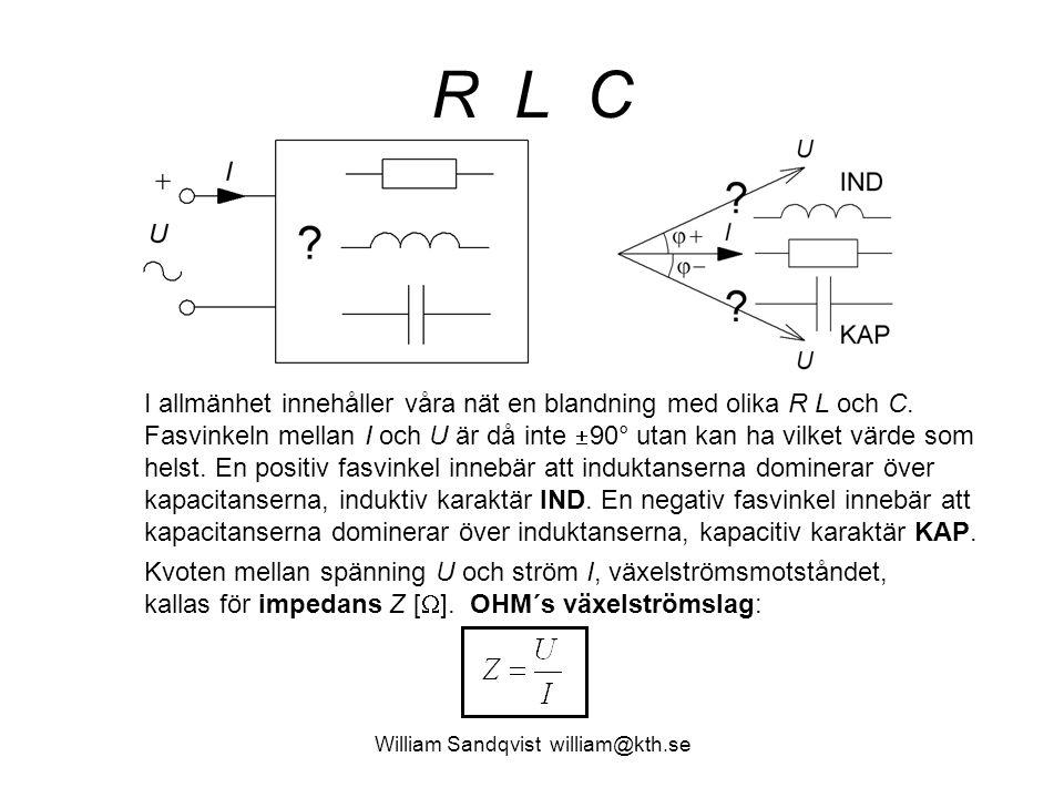 R L C I allmänhet innehåller våra nät en blandning med olika R L och C. Fasvinkeln mellan I och U är då inte  90° utan kan ha vilket värde som helst.