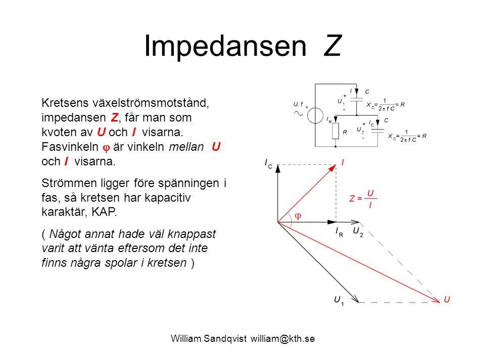 Impedansen Z Kretsens växelströmsmotstånd, impedansen Z, får man som kvoten av U och I visarna. Fasvinkeln  är vinkeln mellan U och I visarna. Strömm