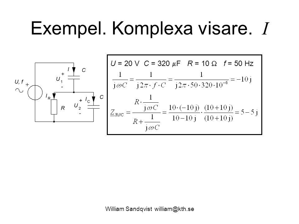William Sandqvist william@kth.se Exempel. Komplexa visare. I U = 20 V C = 320  F R = 10  f = 50 Hz