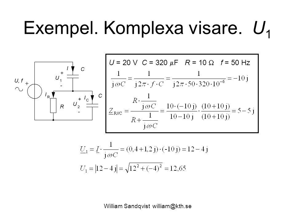 William Sandqvist william@kth.se Exempel. Komplexa visare. U 1 U = 20 V C = 320  F R = 10  f = 50 Hz