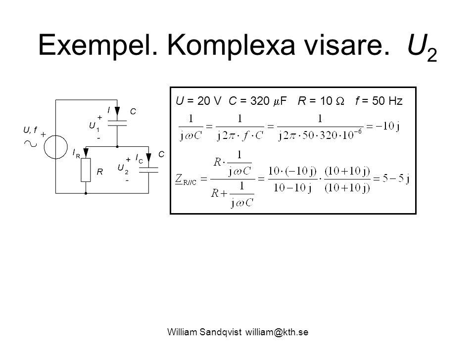 William Sandqvist william@kth.se Exempel. Komplexa visare. U 2 U = 20 V C = 320  F R = 10  f = 50 Hz