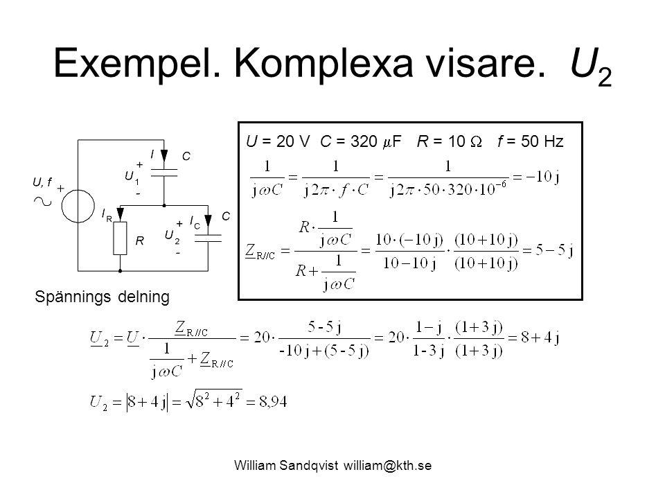 William Sandqvist william@kth.se Exempel. Komplexa visare. U 2 U = 20 V C = 320  F R = 10  f = 50 Hz Spännings delning