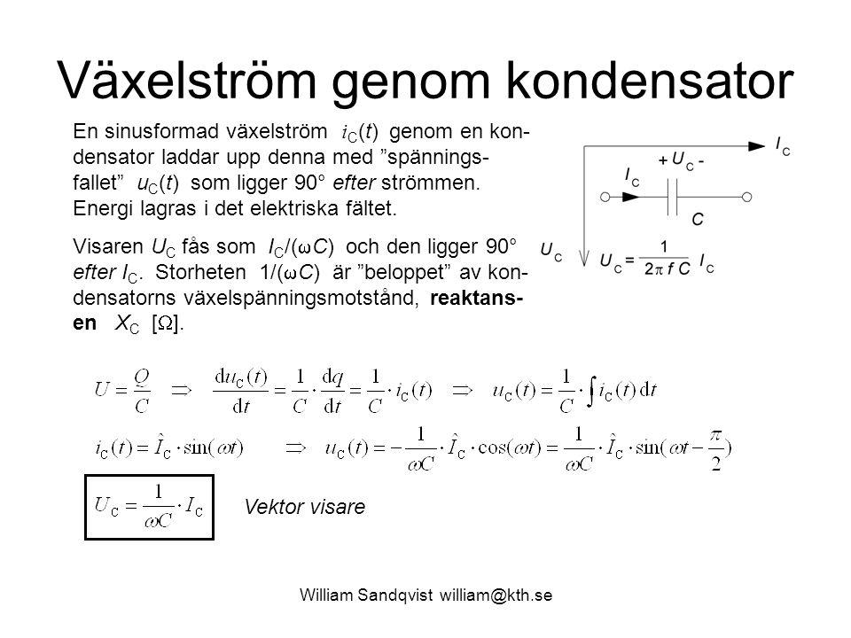"""Växelström genom kondensator En sinusformad växelström i C (t) genom en kon- densator laddar upp denna med """"spännings- fallet"""" u C (t) som ligger 90°"""