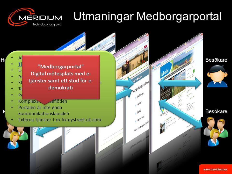 www.meridium.se BesökareHandläggare Utmaningar Medborgarportal Besökare Kommunan- anställda Allt hänger ihop.