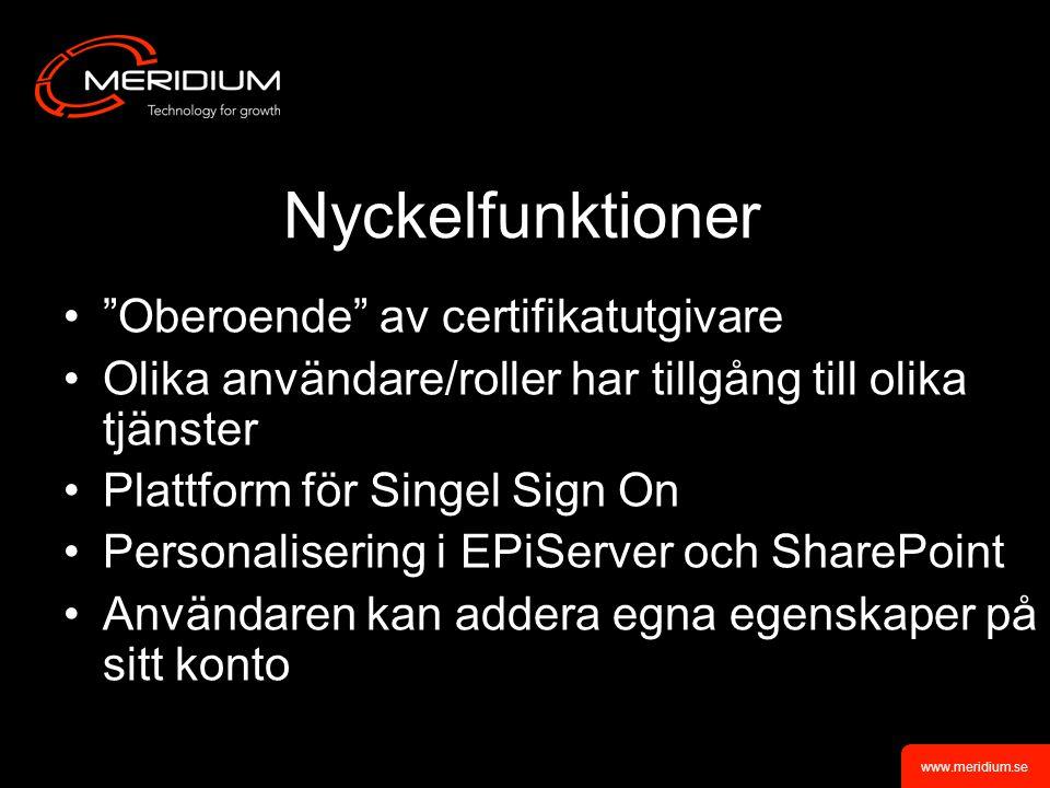 Nyckelfunktioner Oberoende av certifikatutgivare Olika användare/roller har tillgång till olika tjänster Plattform för Singel Sign On Personalisering i EPiServer och SharePoint Användaren kan addera egna egenskaper på sitt konto