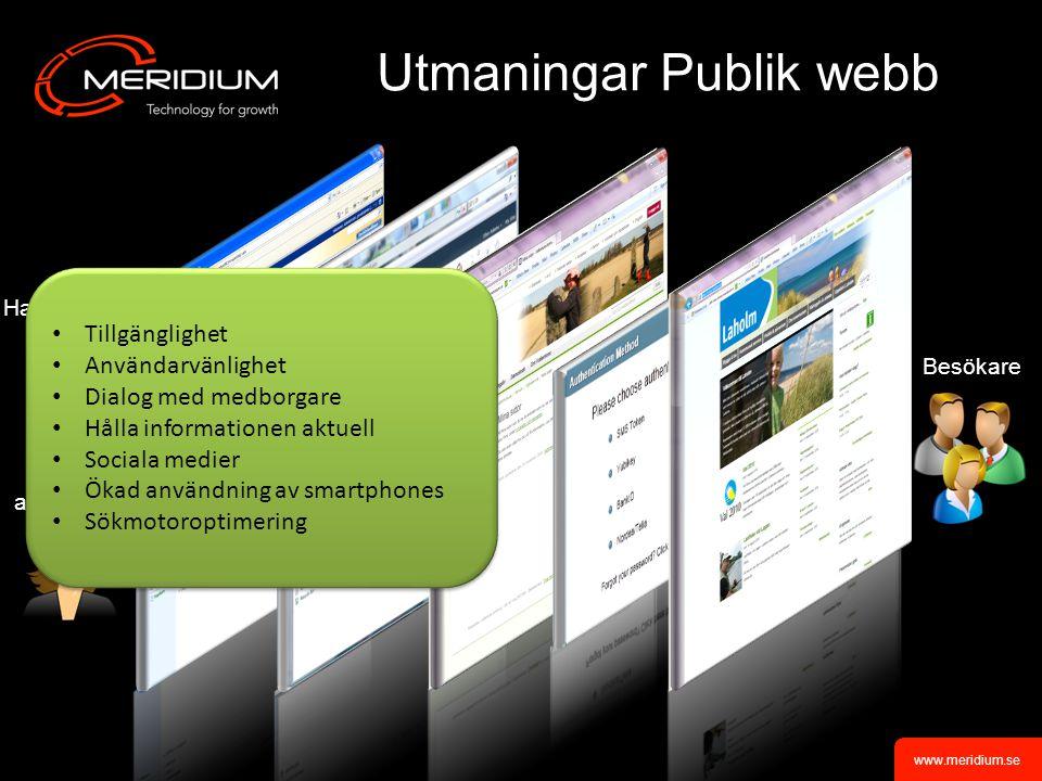 www.meridium.se Vad Meridium kan erbjuda One Stop Shop Öppna standardprodukter Teknik och design Inga stuprör En helhet med fokus på affärsnytta, tillgänglighet och användarvänlighet Färdigt startpaket publik webb Startpaket Medborgarportal
