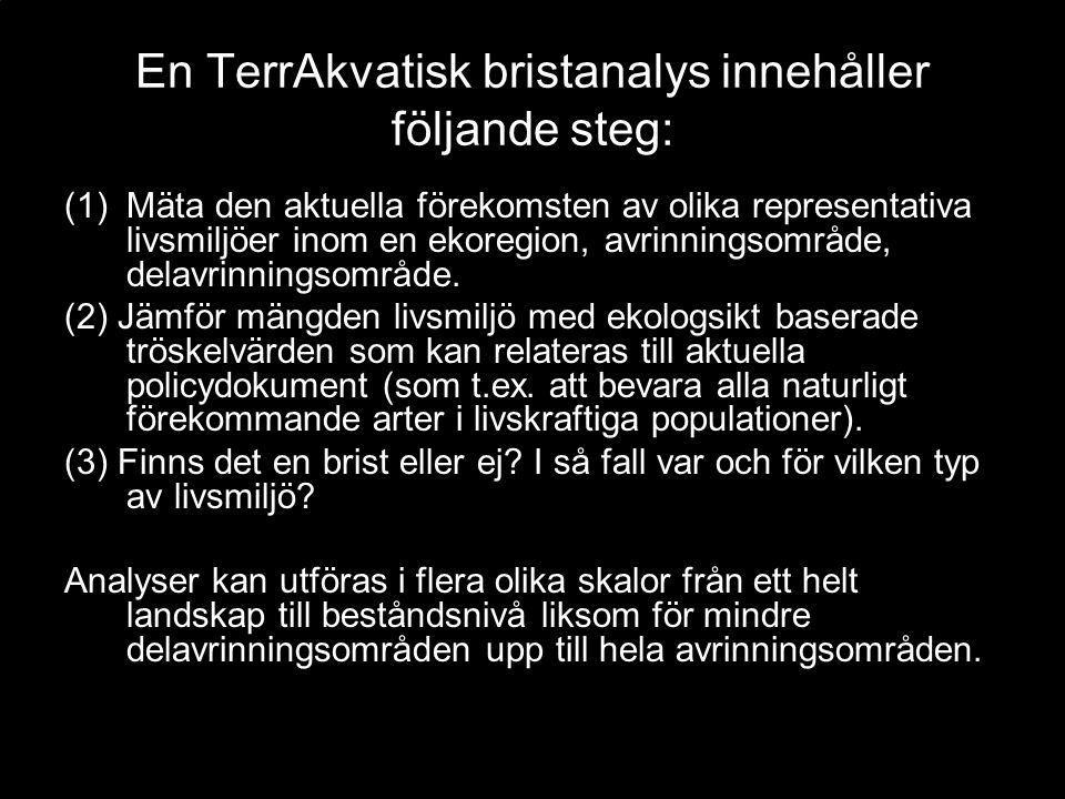 En TerrAkvatisk bristanalys innehåller följande steg: (1)Mäta den aktuella förekomsten av olika representativa livsmiljöer inom en ekoregion, avrinningsområde, delavrinningsområde.