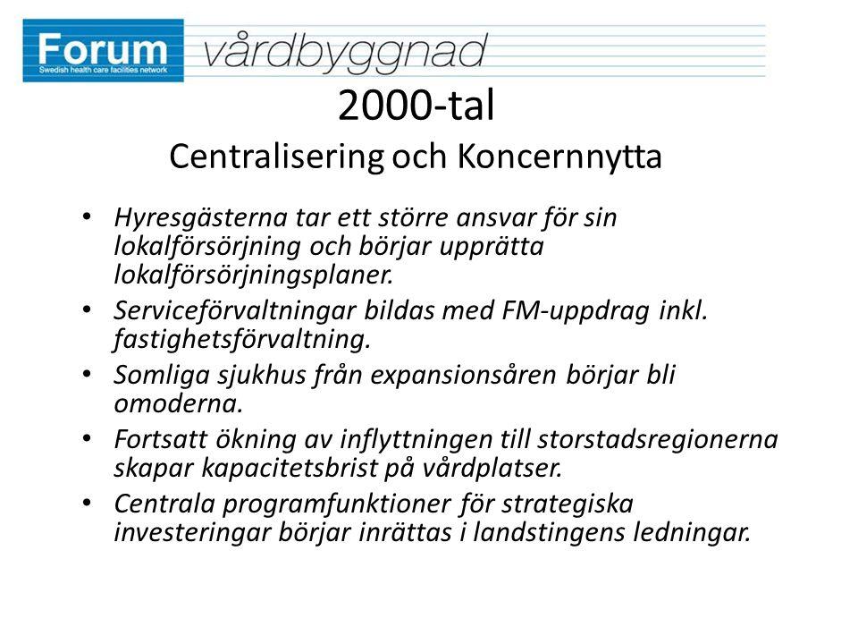 2000-tal Centralisering och Koncernnytta Hyresgästerna tar ett större ansvar för sin lokalförsörjning och börjar upprätta lokalförsörjningsplaner.
